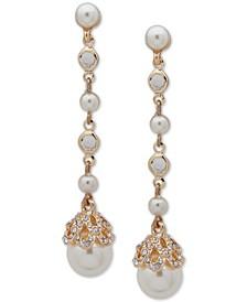 Gold-Tone Pavé & Imitation Pearl Linear Drop Earrings