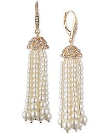 Gold-Tone Pavé & Imitation Pearl Tassel Drop Earrings