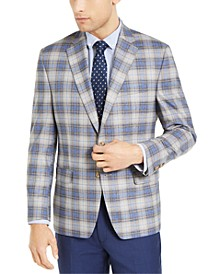 Men's Classic-Fit UltraFlex Tan & Blue Plaid Sport Coat