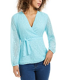 Clip-Dot Wrap Top, Created for Macy's