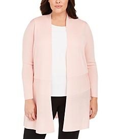 Plus Size Open-Front Longline Cardigan