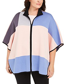 Plus Size Colorblock Zip-Front Poncho