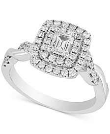 Diamond Square Cluster Statement Ring (1 ct. t.w.) in 14k White Gold