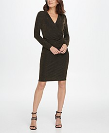 Metallic Jersey Side Ruche Sheath Dress