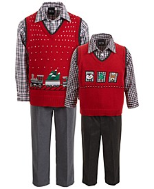 Baby, Toddler & Little Boys 3-Pc. Holiday Train Sweater Vest, Plaid Shirt & Pants Sets