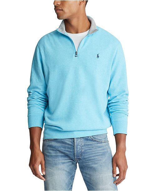 Polo Ralph Lauren Men's Big & Tall Luxury Jersey Quarter-Zip Sweater