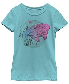 Big Girls Retro Pink Gradient Millennium Falcon Short Sleeve T-Shirt