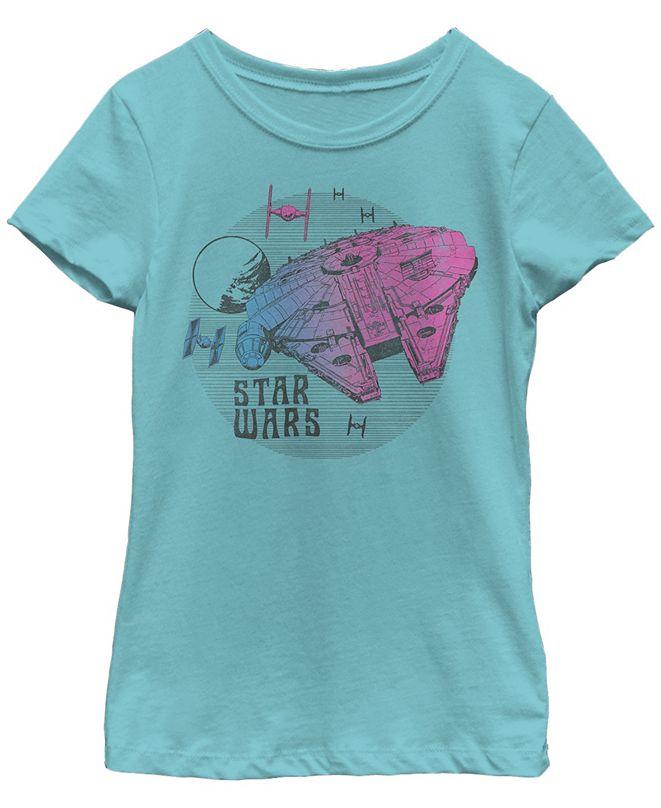Star Wars Big Girls Retro Pink Gradient Millennium Falcon Short Sleeve T-Shirt