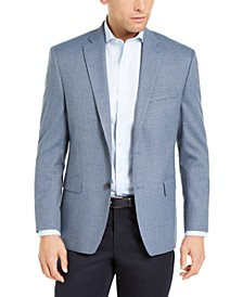 Men's Classic-Fit UltraFlex Light Blue Houndstooth Sport Coat