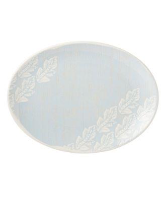 Textured Neutrals Leaf Oval Platter