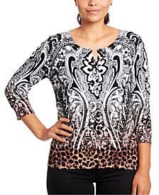 Printed 3/4-Sleeve Cardigan