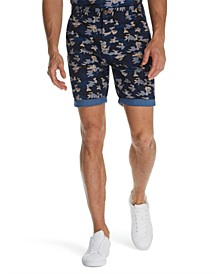 Men's Modern-Fit Stretch Camo Herringbone Shorts
