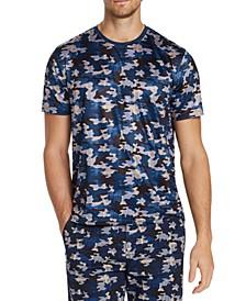 Men's Slim-Fit Comfort Stretch Camo Herringbone Short Sleeve T-Shirt