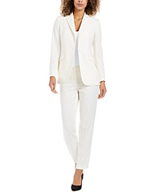 Twill One-Button Blazer & Straight-Leg Pants