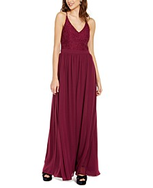 Juniors' Lace & Chiffon Gown