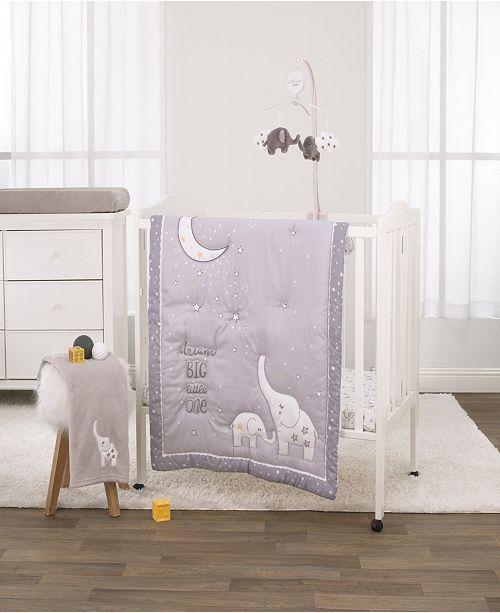 NoJo Nojo Dream Big Little Elephant 3-Piece Mini Crib Bedding Set