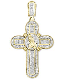 Men's Diamond Praying Hands Cross Pendant (1/2 ct. t.w.) in 10k Gold