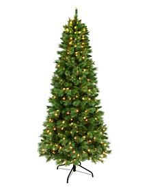 7.5' Pre-lit Medium Green Slim Tree 400 Clear Lights