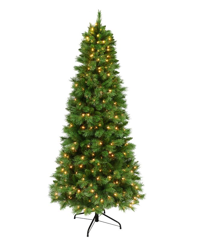 Puleo 7.5' Pre-lit Medium Green Slim Tree 400 Clear Lights