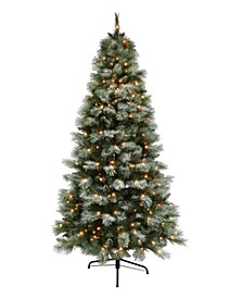7.5' Pre-lit Dark Green Slim Tree 500 Clear Lights