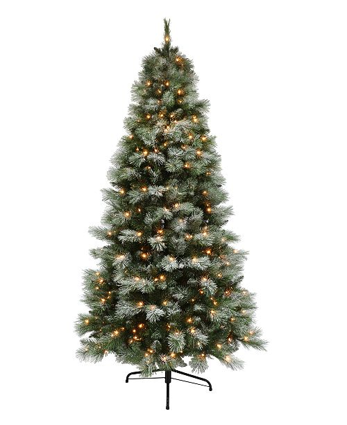 Puleo 7.5' Pre-lit Dark Green Slim Tree 500 Clear Lights