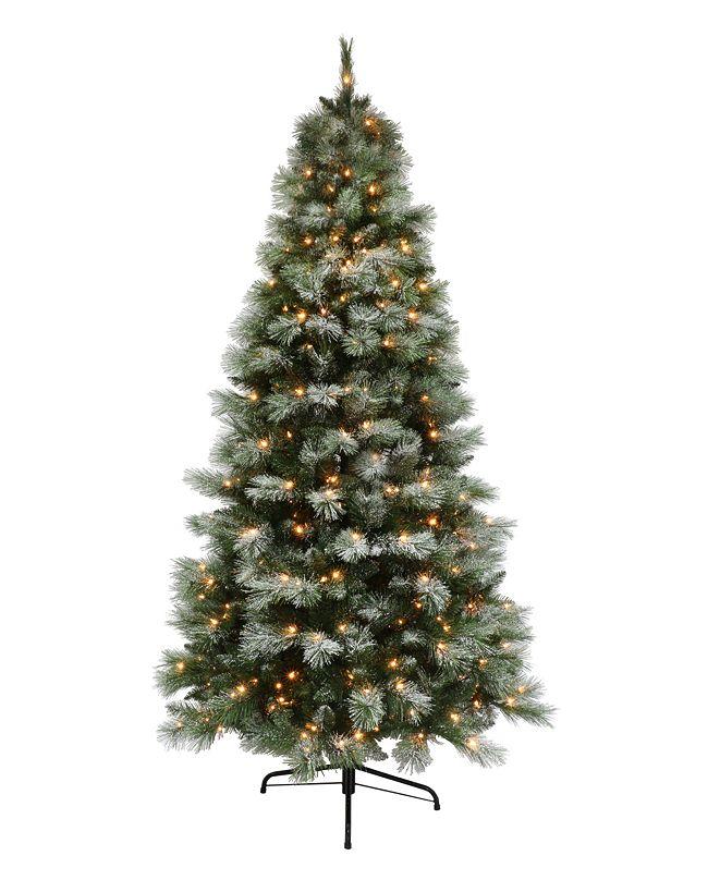 Puleo 7.5' Pre-lit Dark Green Slim Tree 500 Clear Lights