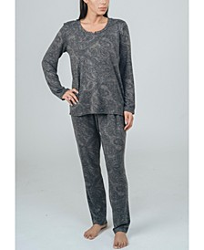 Hacci Long Sleeve Top and Pant Pajama Set, Online Only