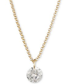 "Gold-Tone Crystal Pendant Necklace, Created for Macy's, 16"" + 3"" extender"