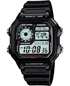 Unisex Digital Black Resin Strap Watch 39.5mm
