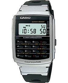 Unisex Digital Calculator Black Resin Strap Watch 34.8mm
