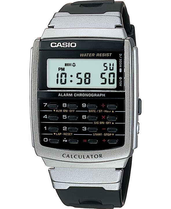 Casio Unisex Digital Calculator Black Resin Strap Watch 34.8mm