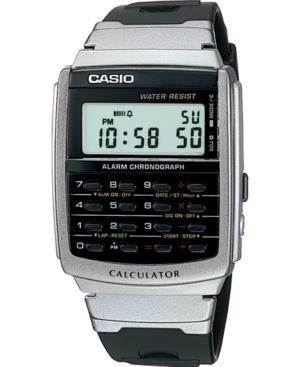 Unisex Digital Calculator Black Resin Strap Watch 34.8mm