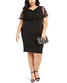 Plus Size Lace Overlay Sheath Dress