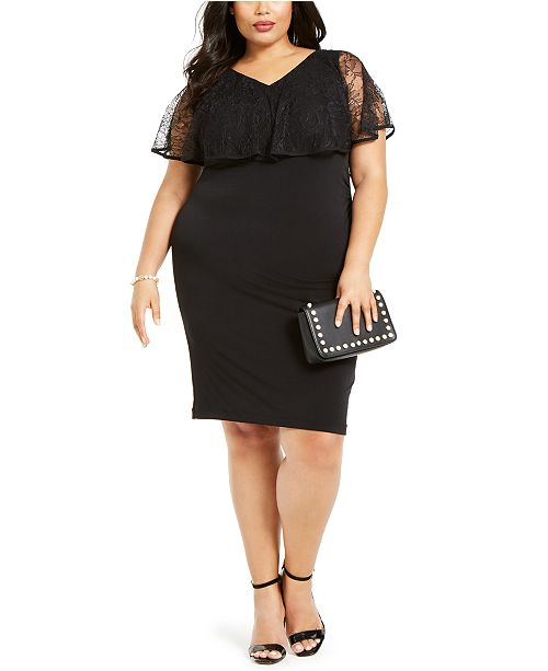 Connected Plus Size Lace Overlay Sheath Dress