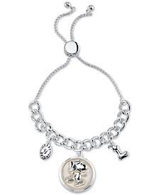 "Santa ""Snoopy"" Bolo Bracelet in Fine Silver Plated Brass"
