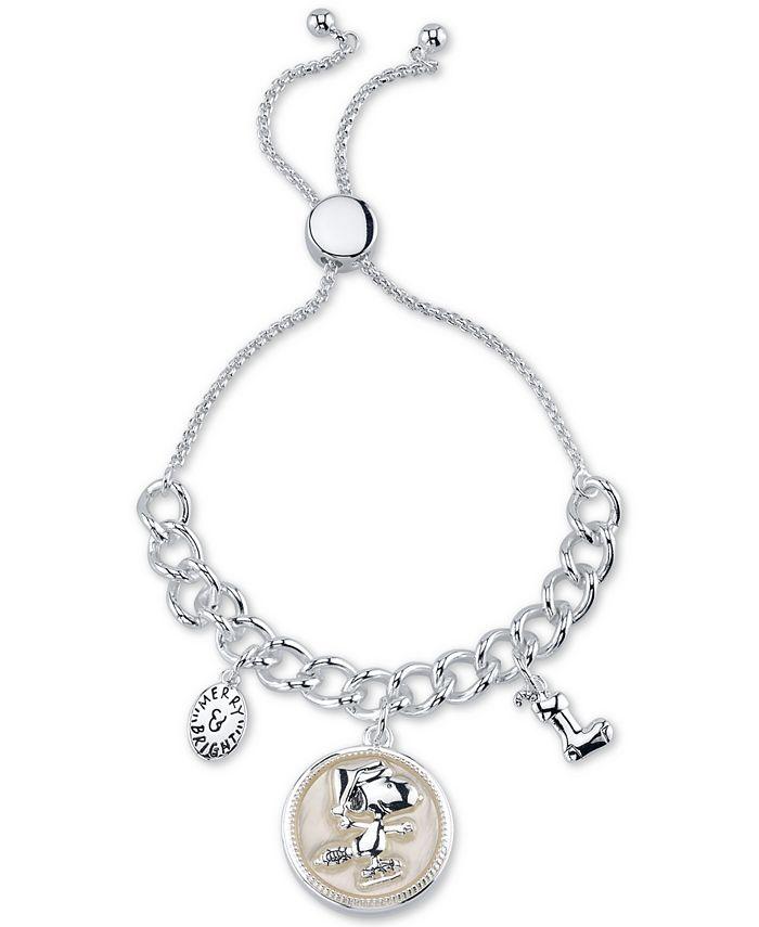 "Peanuts - Santa ""Snoopy"" Bolo Bracelet in Fine Silver Plated Brass"