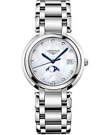 Women's Swiss PrimaLuna Diamond-Accent Stainless Steel Bracelet Watch 34mm