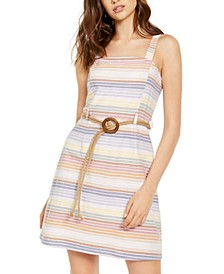 Derek Heart Juniors' Cotton Striped Belted Dress
