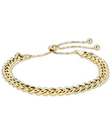 Curb Chain Bolo Bracelet in 18k Gold Plate Over Sterling Silver or Sterling Silver