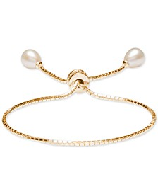 Cultured Freshwater Pearl (7 x 9mm) Bolo Bracelet in 18k Gold-Plated Sterling Silver