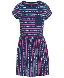 Big Girls Logo Stripe French Terry Dress