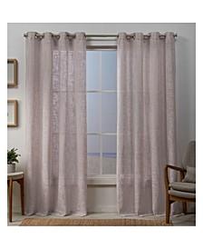 Sena Two Way Slub Yarn Sheer Grommet Top Curtain Panel Pair