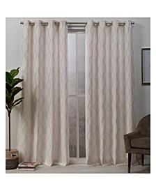 Stark Medallion Textured Grommet Top Curtain Panel Pair