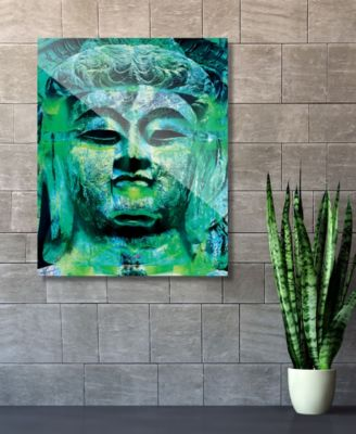 """Teal Green Stained Buddha Abstract 20"""" x 24"""" Acrylic Wall Art Print"""
