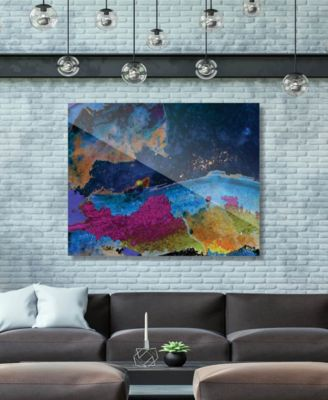 "Splash Coast in Blue Abstract 24"" x 36"" Acrylic Wall Art Print"