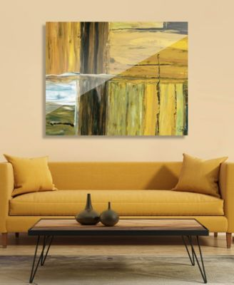 """Open Fence in Raw Umber Light Abstract 20"""" x 24"""" Acrylic Wall Art Print"""