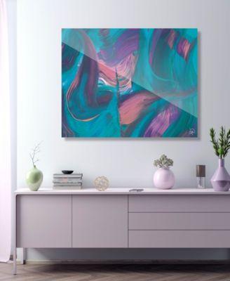 "Tumba Part Two in Cyan Pink Abstract 16"" x 20"" Acrylic Wall Art Print"