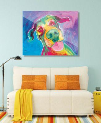 "Jesse Smiling Dog on Blue Purple Abstract 20"" x 24"" Acrylic Wall Art Print"