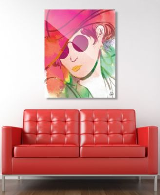 "Scarlet Wash Diva Abstract 24"" x 36"" Acrylic Wall Art Print"