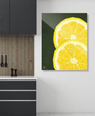 "Large Sliced Graphic Lemon on Green 20"" x 24"" Acrylic Wall Art Print"